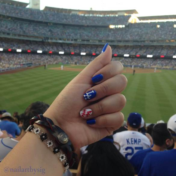 Dodger-Nails-Baseball-Nails-Nail-Art