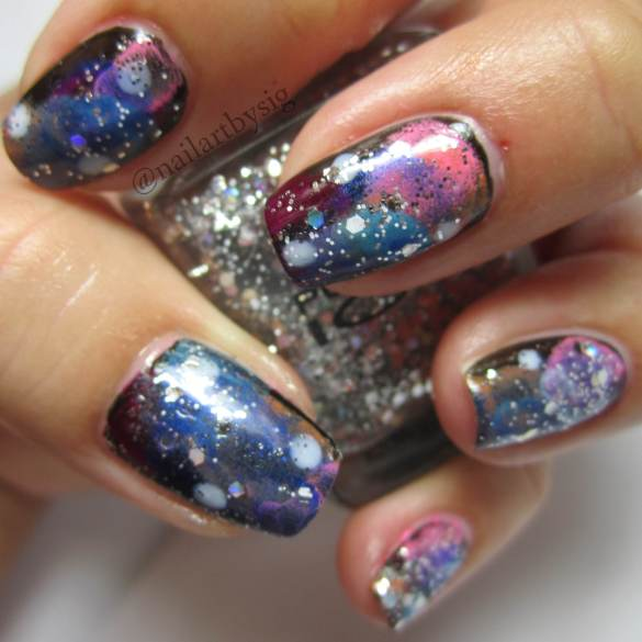 Galaxy-Nails-Nail-Art-Glitter-Nails