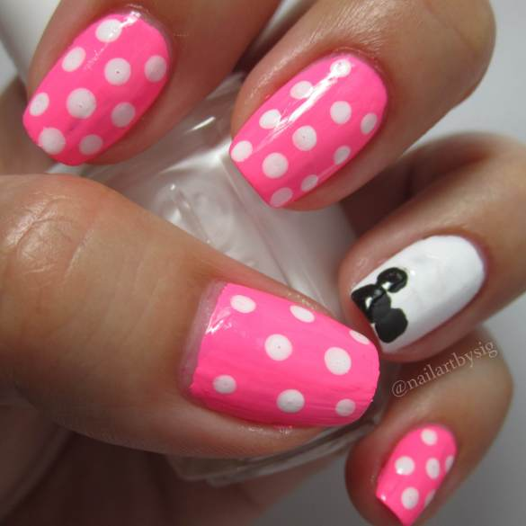 Minnie-Mouse-Nails-Tutorial-Disney-Nail-Art-Latina- - Minnie Mouse Inspired Nail Art Tutorial By Sig