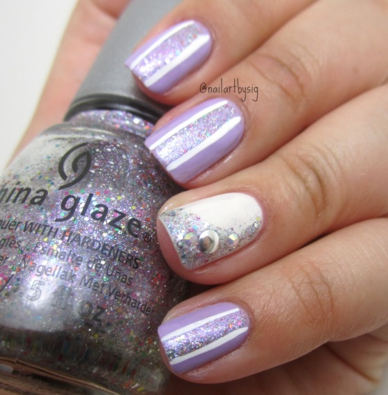 glitzy-striped-nail-art