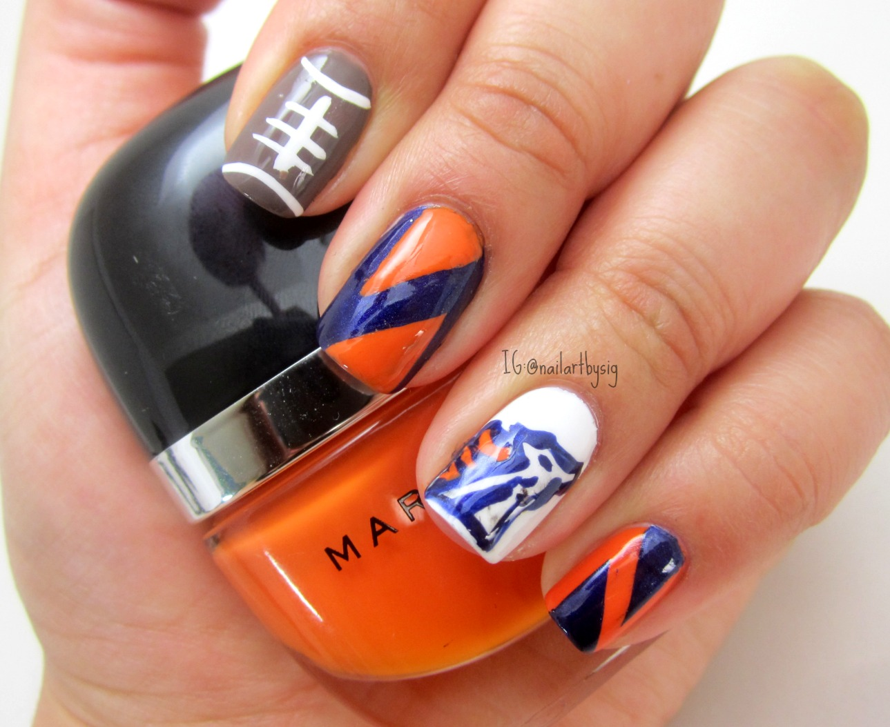 Denver Broncos Nail Art | By Sig